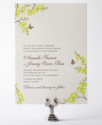 Shangri-La Letterpress Wedding Invitation