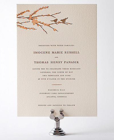 Sparrows Letterpress Wedding Invitation