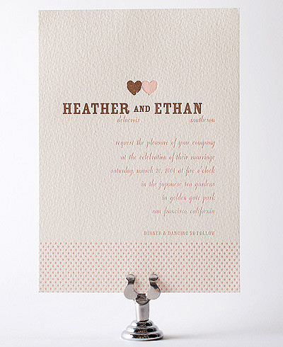 Sweetheart Letterpress Wedding Invitation
