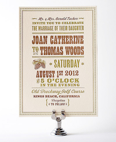 Tahoe Letterpress Wedding Invitation