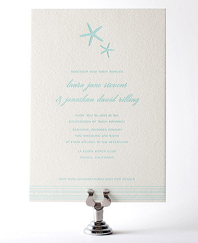 Tides Letterpress Wedding Invitation