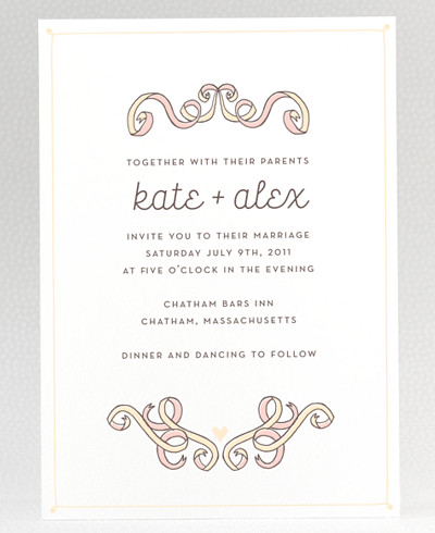 Tie The Knot Letterpress Wedding Invitation