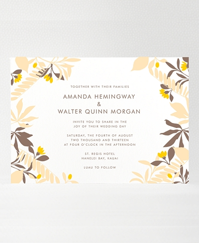 Tropic Letterpress Wedding Invitation