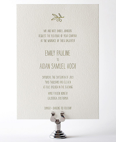 Tuscany Letterpress Wedding Invitation