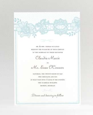 rose lace wedding invite