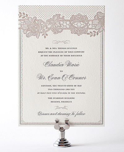 Vintage Lace Letterpress Wedding Invitation