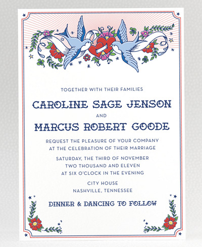 Vintage Tattoo Wedding Invitation