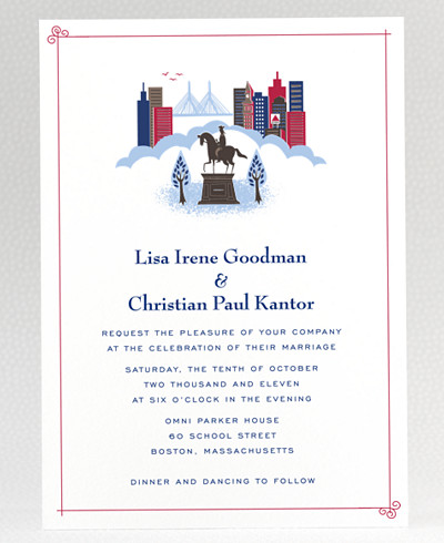 Visit Boston Wedding Invitation