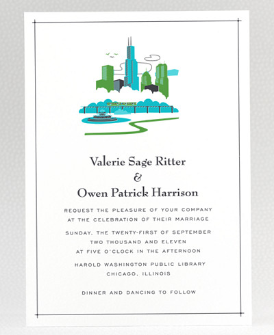 Visit Chicago Wedding Invitation