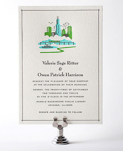 Visit Chicago Letterpress Wedding Invitation