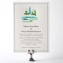 Visit Chicago---Letterpress Wedding Invitation