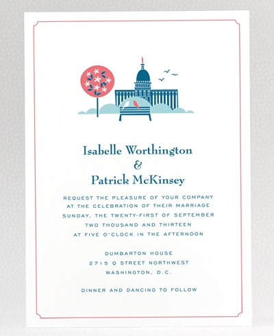 Visit Washington, D.C. Wedding Invitation