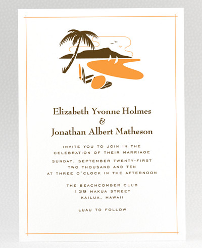 Visit Hawaii Wedding Invitation