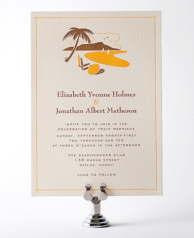 Visit Hawaii Letterpress Wedding Invitation