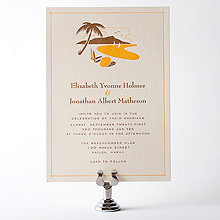 Visit Hawaii---Letterpress Wedding Invitation