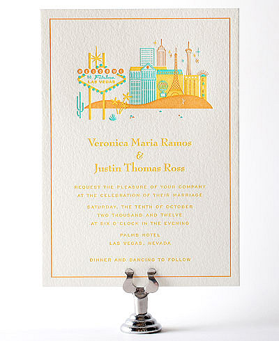 Visit Las Vegas Letterpress Wedding Invitation