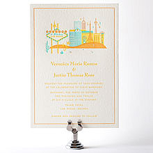 Visit Las Vegas - Letterpress Wedding Invitation