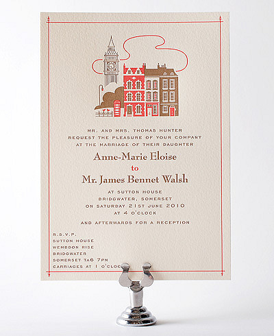 Visit London Letterpress Wedding Invitation