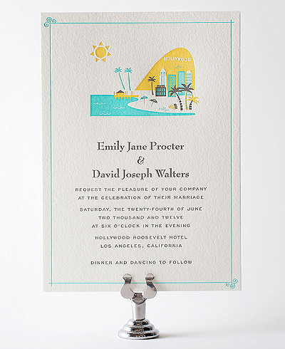 Visit Los Angeles Letterpress Wedding Invitation
