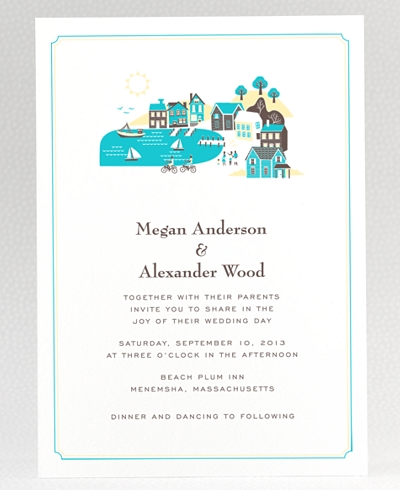 Visit Martha's Vineyard Letterpress Wedding Invitation