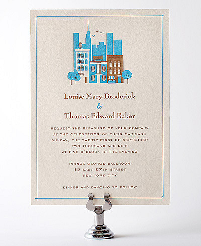 Visit New York Letterpress Wedding Invitation