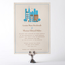 Visit New York---Letterpress Wedding Invitation