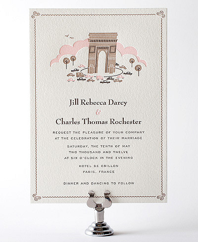 Visit Paris Letterpress Wedding Invitation