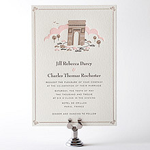Visit Paris---Letterpress Wedding Invitation