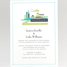 Visit Philadelphia---Letterpress Wedding Invitation