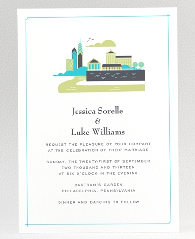 Visit Philadelphia Letterpress Wedding Invitation