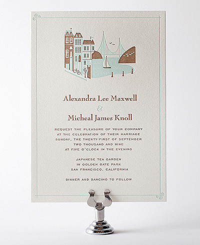 Visit San Francisco Letterpress Wedding Invitation
