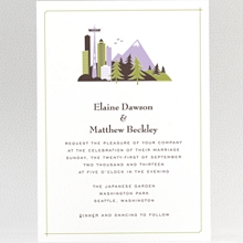Visit Seattle---Letterpress Wedding Invitation