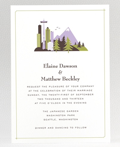 Visit Seattle Letterpress Wedding Invitation
