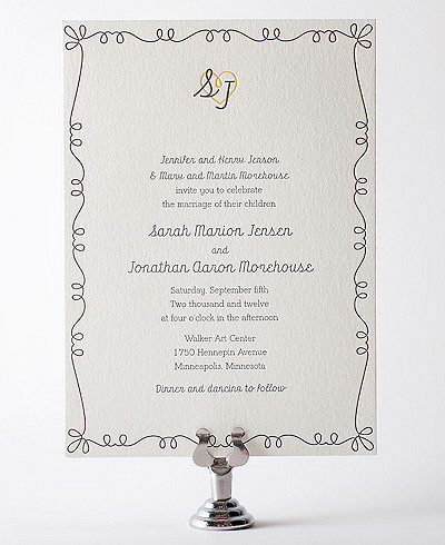 Whimsy Letterpress Wedding Invitation
