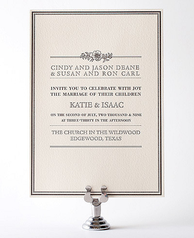 Wildwood Letterpress Wedding Invitation