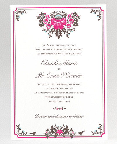 Woodland Damask Wedding Invitation