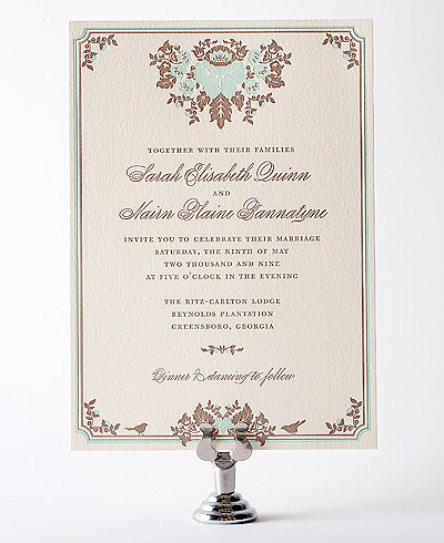 Woodland Damask Letterpress Wedding Invitation