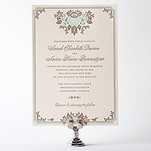 Woodland Damask: Letterpress Wedding Invitation