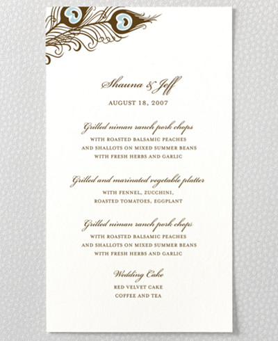 Antoinette Letterpress Menu Card
