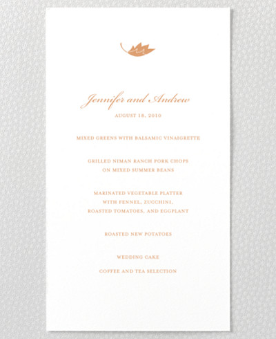 Autumn Leaves Letterpress Menu Card