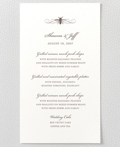 Belle Epoque Letterpress Menu Card