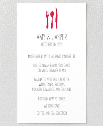 Big Day Letterpress Menu Card
