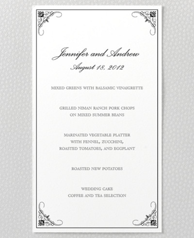 Biltmore Letterpress Menu Card