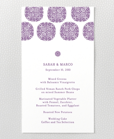 Bohemian Letterpress Menu Card