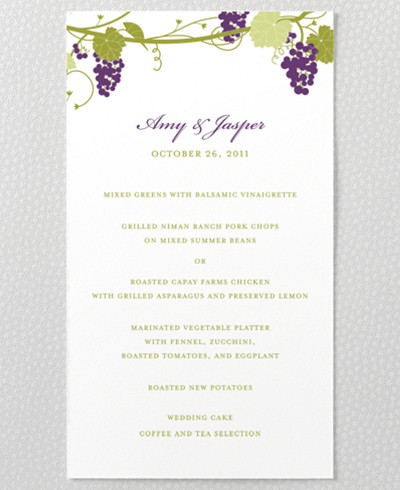 Bordeaux Menu Card