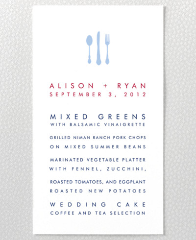 Boston Skyline Letterpress Menu Card