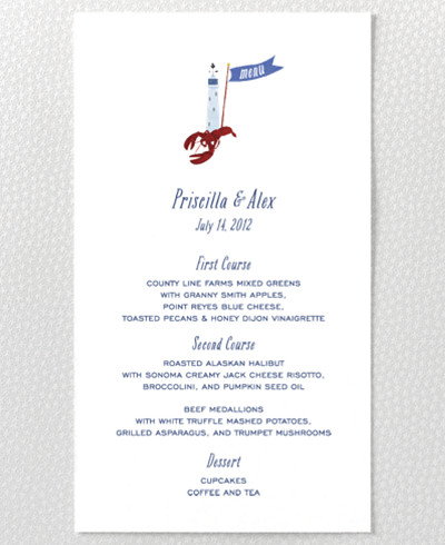 Cape Cod Menu Card