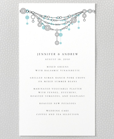 Chandelier Letterpress Menu Card