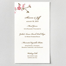 Cherry Blossom---Letterpress Menu Card