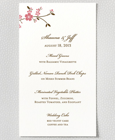 Cherry Blossom Letterpress Menu Card